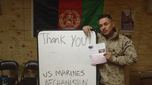 Thank you from U.S. Marines in Afghanistan