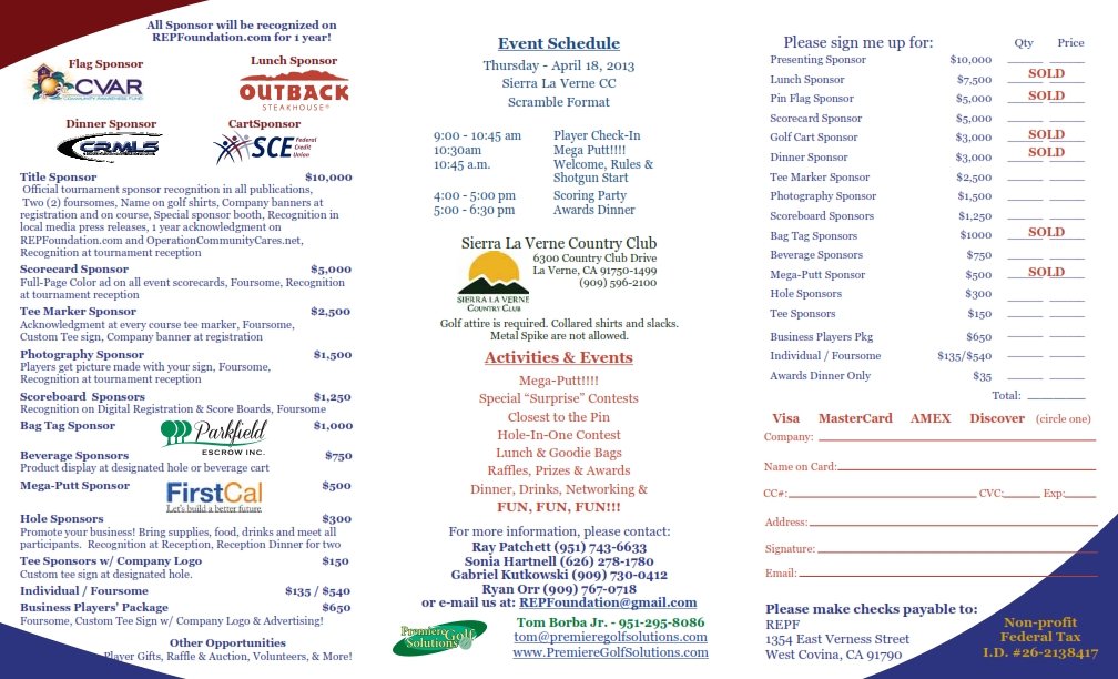 2013 charity golf tournament on april 18, 2013 – operation community