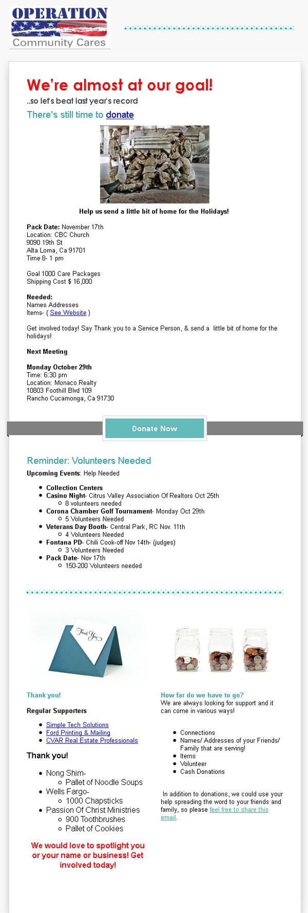 OCC Shippping Date November 17 2012