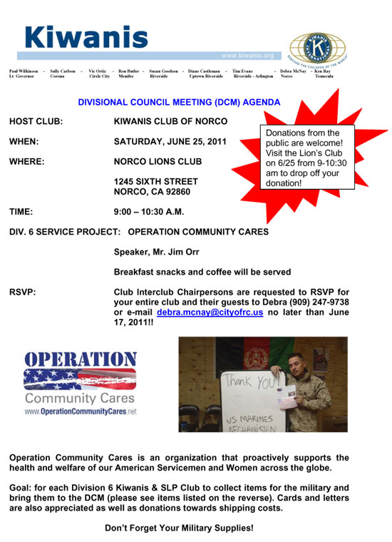 Regional Rotary Club meeting and packing day taking place on Saturday June 25th at 9 AM