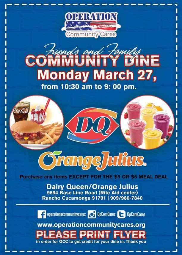 Friends and Family Community Dine OCC Fundraiser | Monday March 27, 2017